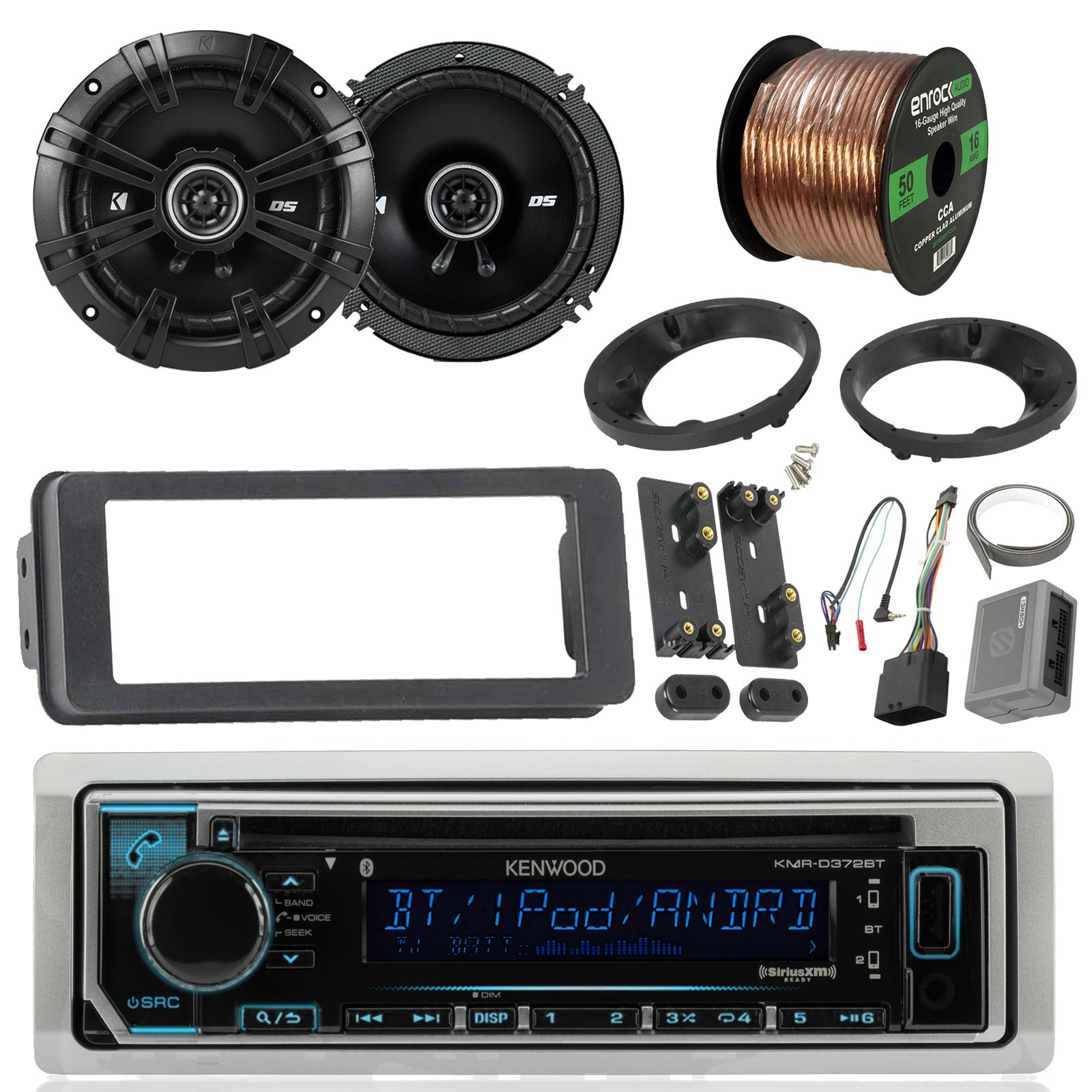 Kenwood KMRD365BT Marine Stereo Receiver Bundle Combo With 2x Kicker 6.5'' Speakers W/ Install brackets, Dash Kit + Handle Bar Control For 1998-2013 Harley Motorcycles + Enrock 50Ft 16g Speaker Wires by Enrock Motorcycle Bundle