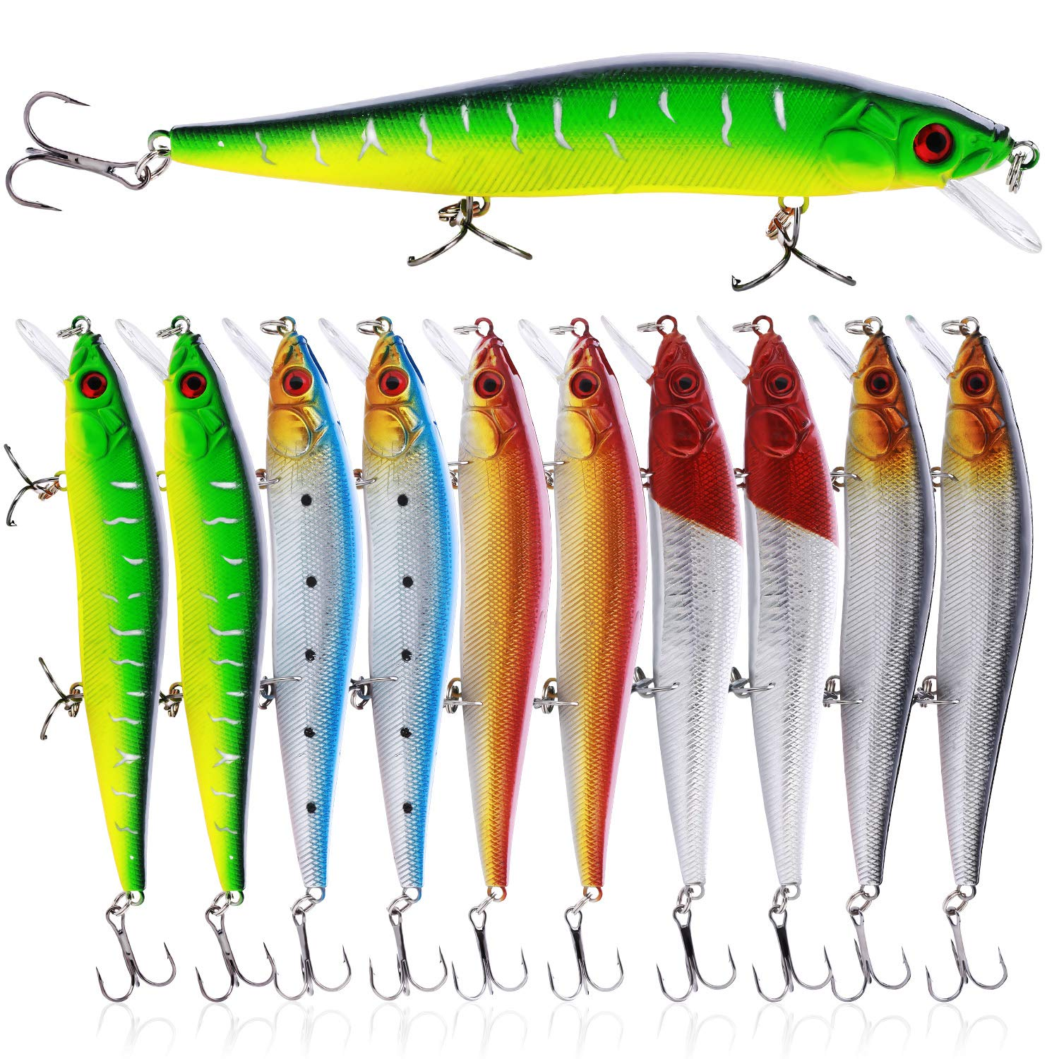 Sougayilang Fishing Lures Hard Bait Minnow Crankbait with Treble Hook Life-Like Swimbait Fishing Bait Deep Diver Lure Sinking Lure