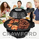"Crawford Kitchen Infrared BBQ Grill | Portable Indoor Tabletop Design | 14"" Round Non-Stick Pan 