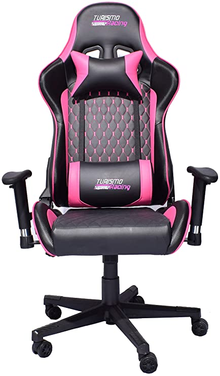 Pleasing Turismo Racing Modena Series Black And Pink Gaming Chair Seat Has Dual Memoryfoam System For Optimum Comfort In All Day Gaming Machost Co Dining Chair Design Ideas Machostcouk