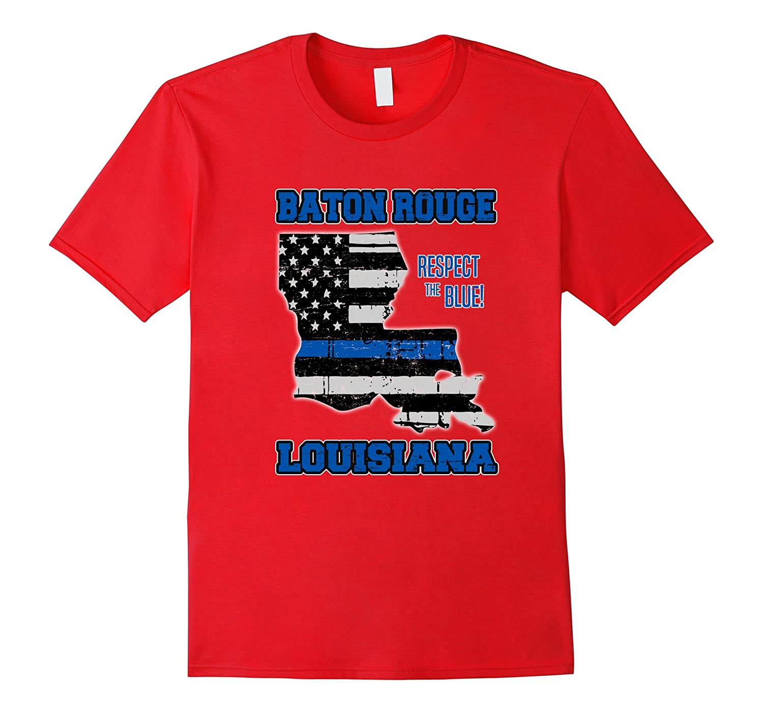 Baton Rouge Louisiana Thin Blue Line Police T-Shirt-CL