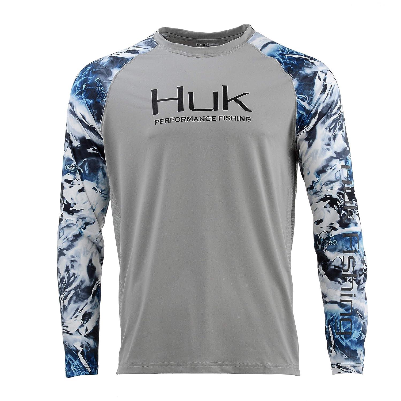 Huk メンズ ダブルヘッダー ベント付き長袖シャツ、グレー、3XL   B07GQGTK1S