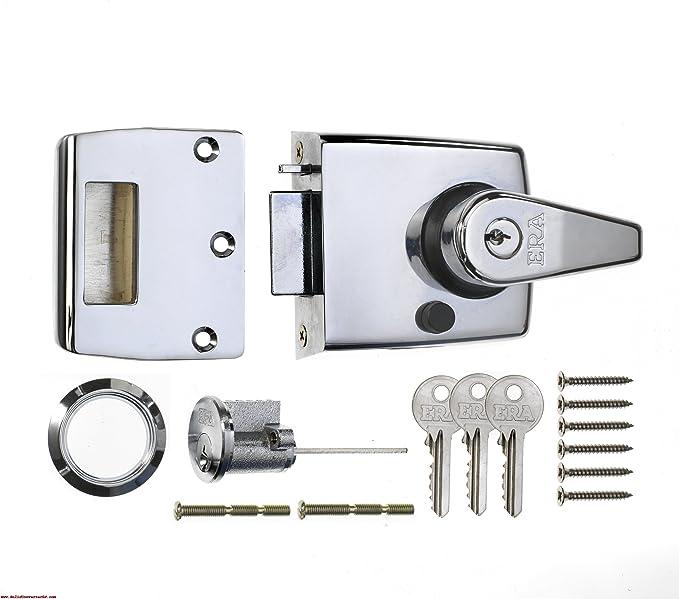 POLISHED CHROME CYLINDER PULL 75mm Front Door Rim Lock Fits Yale//Era Nightlatch