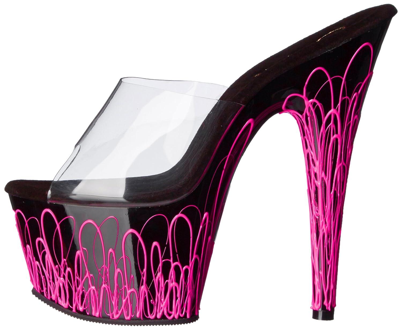 Pleaser Women's ADO701UVL/C/B-NPN Platform Dress Sandal B00HYNYK9I 10 B(M) US|Clear/Black/Neon Pink