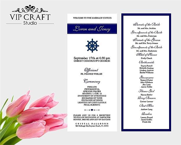Amazon Navy Blue Wedding Programs Set Of 10 Handmade