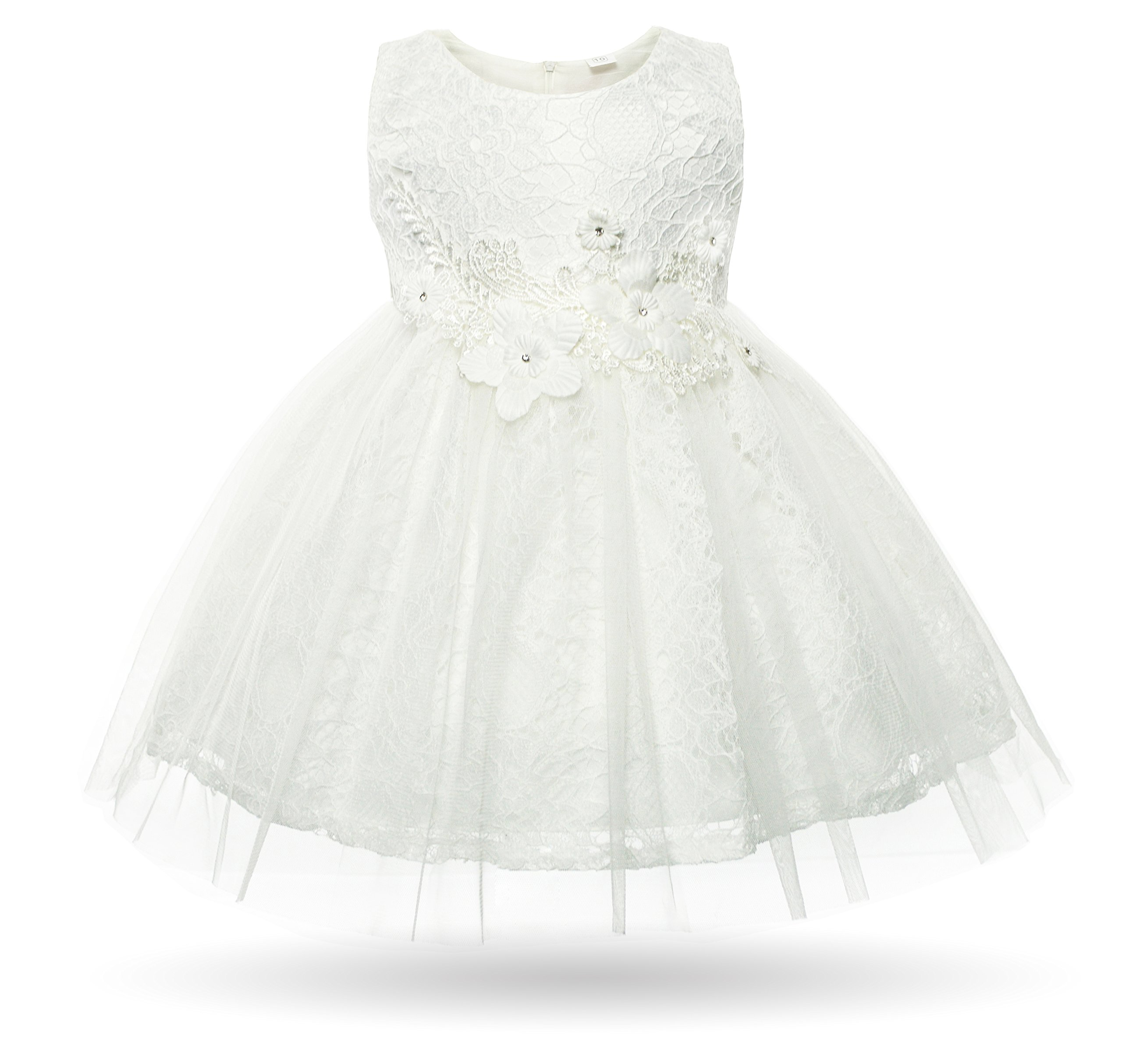 CIELARKO Baby Girl Dress Infant Flower Lace Wedding Party Dresses for 0-24 Months (0-3 Months, White)