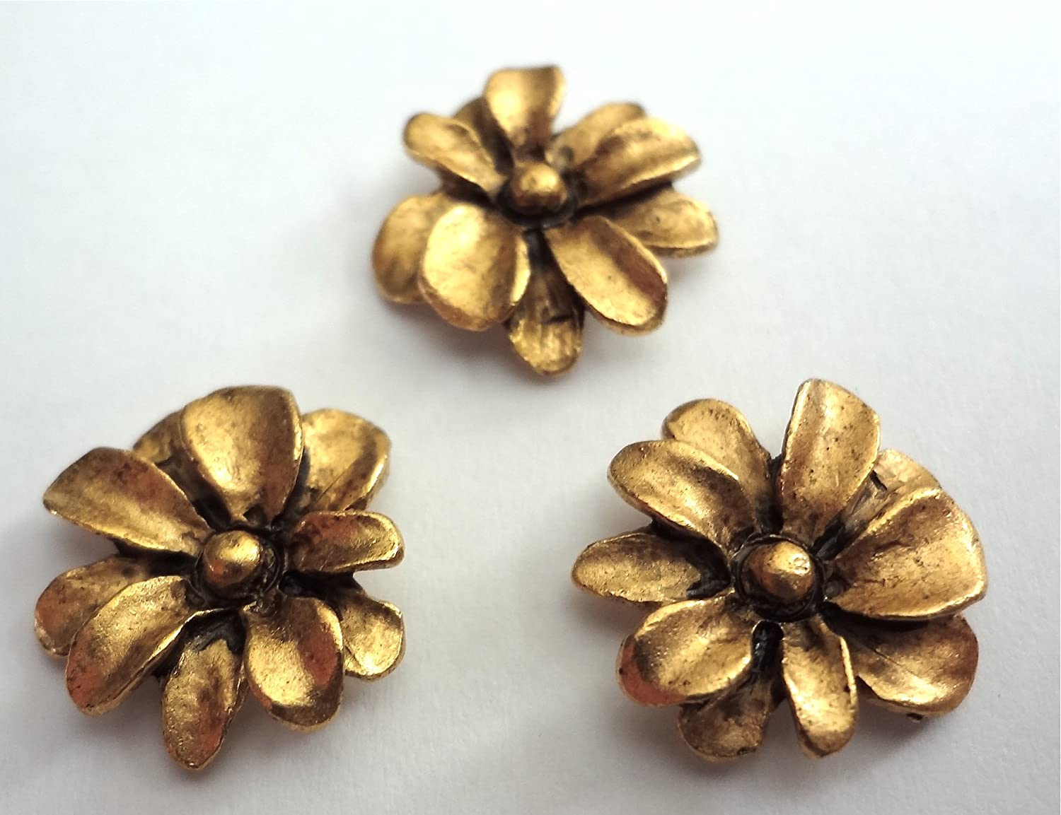 *NEW ITEM* ANTIQUE GOLD METAL SPRING FLOWERS T-506MG Set of 15