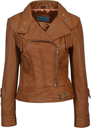 Supermodel Ladies Tan Biker Style Designer Real Nappa Italian Leather Jacket 4110 At Amazon Women S Coats Shop