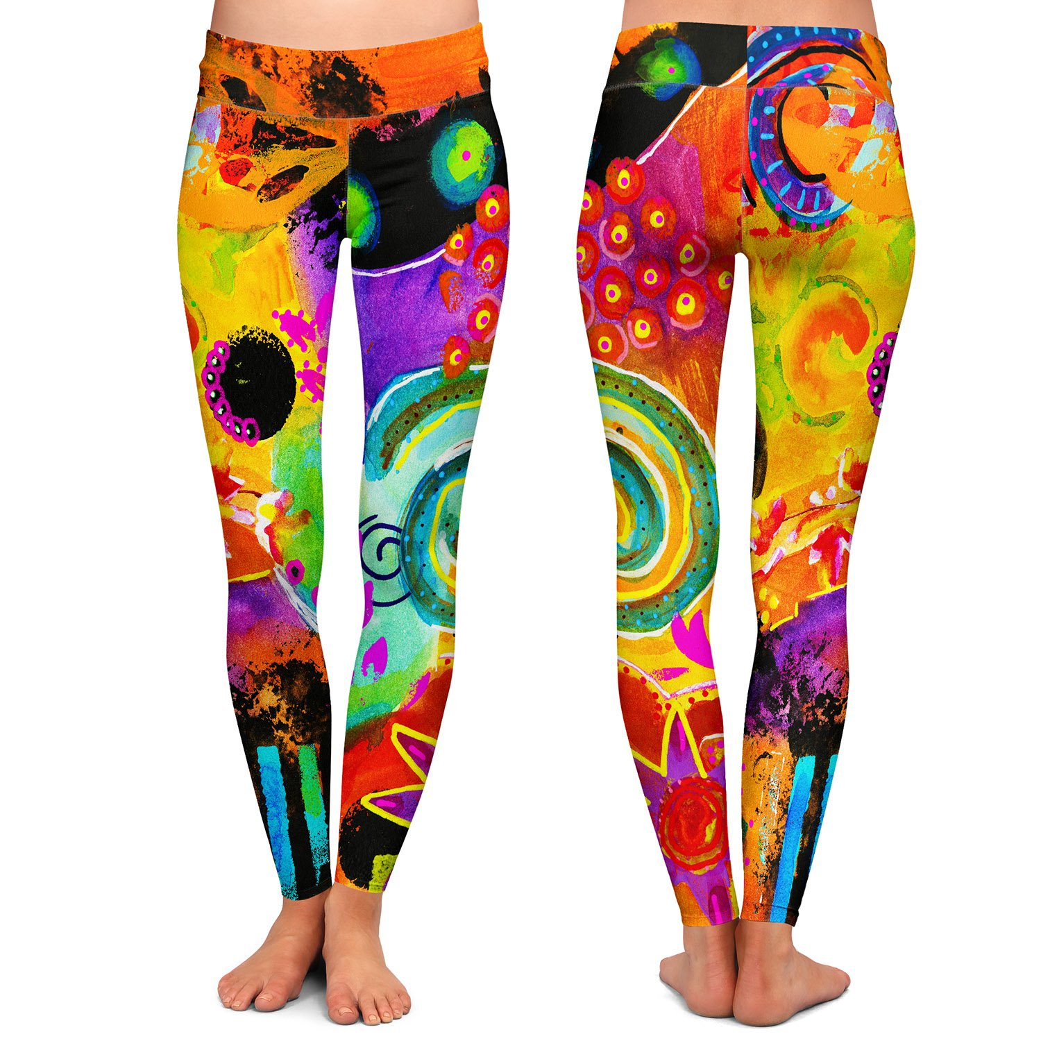Athletic Yoga Leggings from DiaNoche Designs by China Carnella Crazy Abstract I