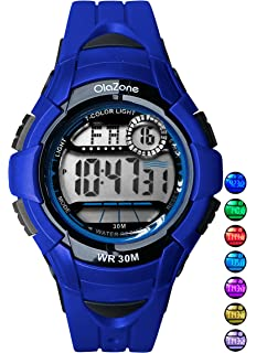 Kids Watches Girls Boys Digital 7-Color Flashing Light Water Resistant 100FT Alarm Gifts for