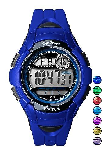 Reloj digital para niños de 7 colores, resistente al agua, alarma para niños de