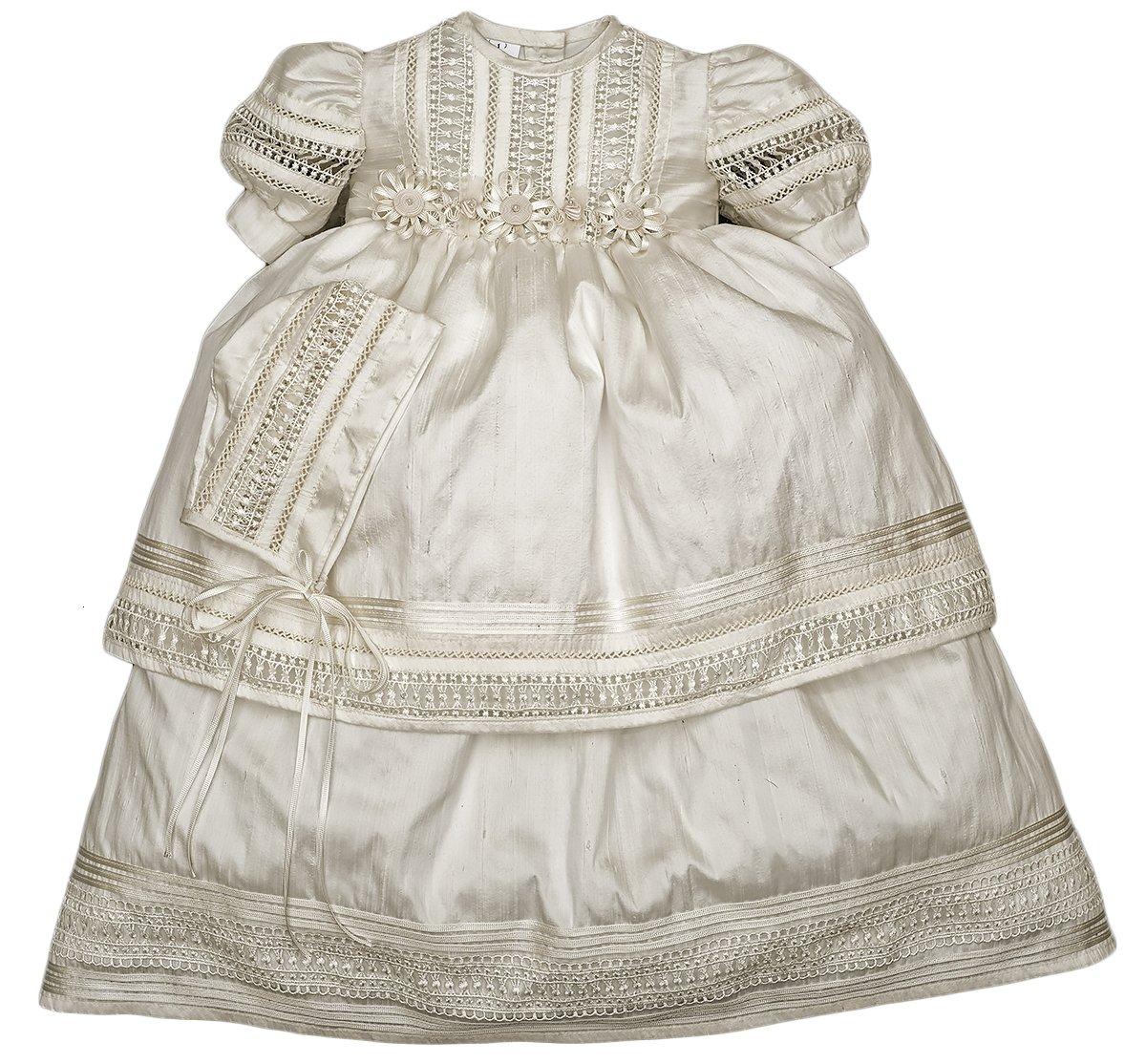 Elegant Baby Girl Christening Baptism Dress - Ivory or White (24-36 Months, Ivory)