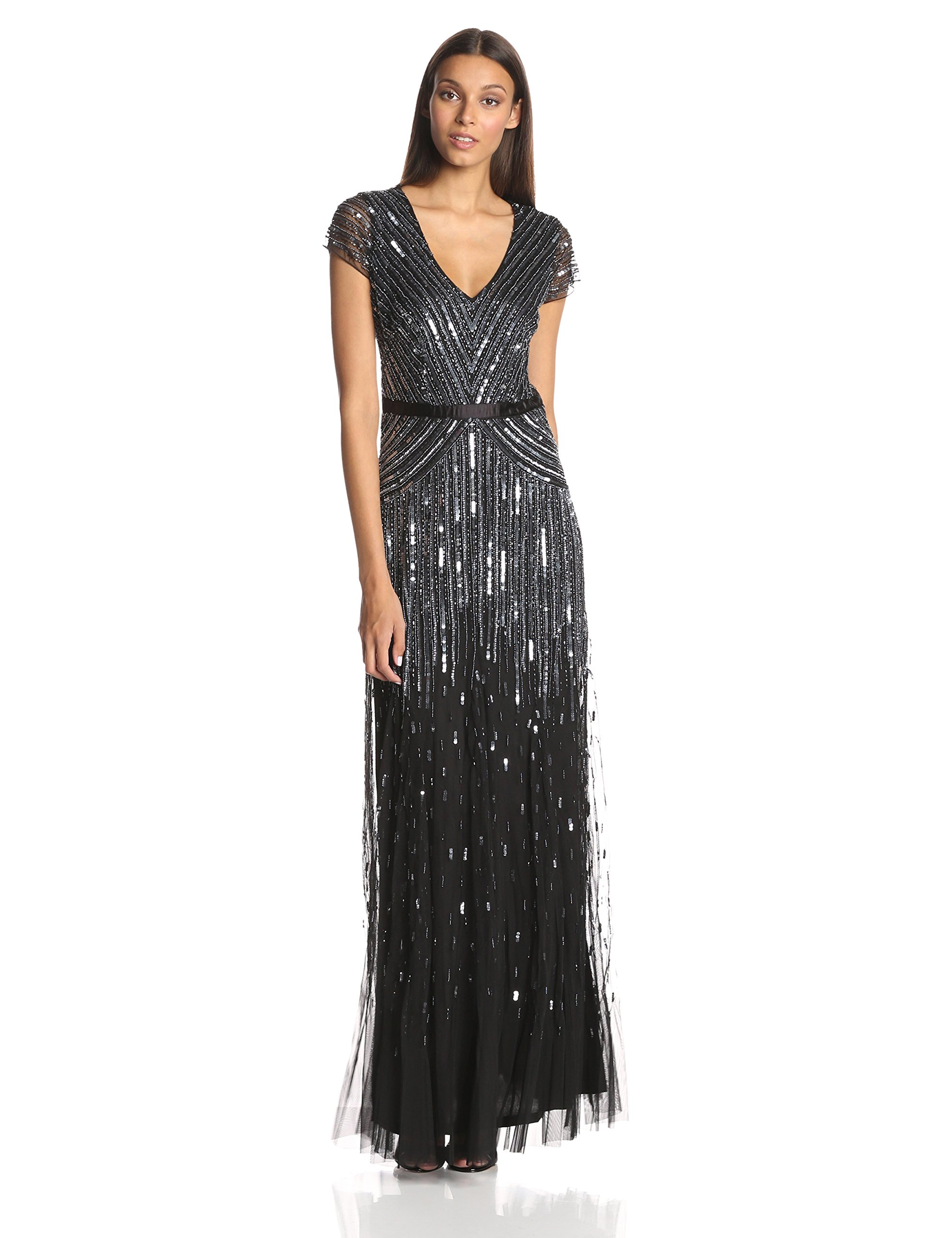 Adrianna Papell Women's Long Beaded V-Neck Dress With Cap Sleeves and Waistband, Gunmetal, 14
