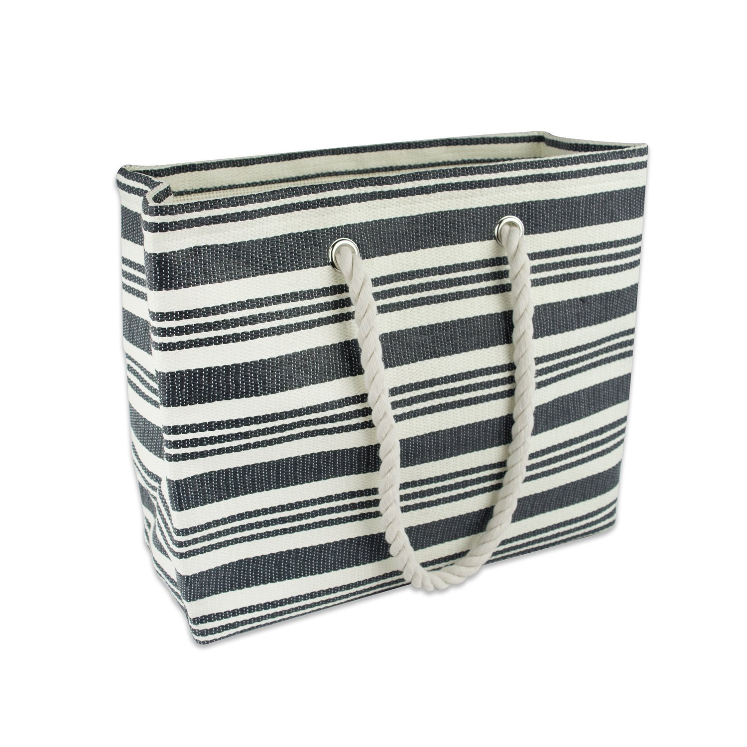 DII Convenient Tote For Travel, Magazines, Books, Laptop, Beach, Lake, and Picnics) - Black Bag, Urban Stripe by DII