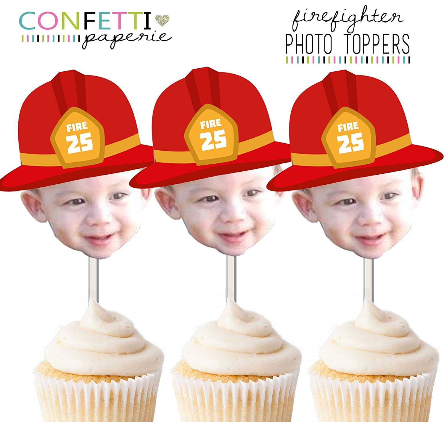 Amazon Com Firefighter Fireman Photo Cupcake Toppers Cake