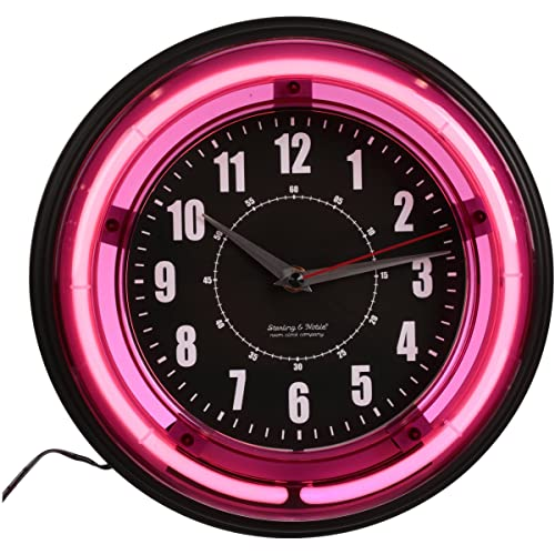 Sterling and Noble 11-inch Neon Wall Clock, Neon Pink