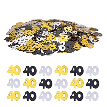 Haley Party 40th Birthday Decorations Anniversary 40 Confetti Metallic Foil For