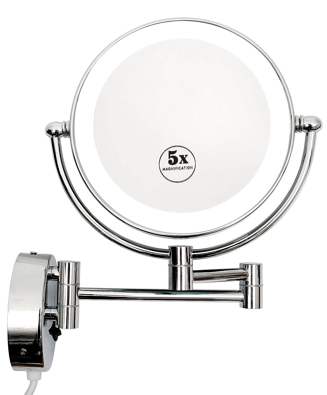 Kosmetikspiegel mit LED Beleuchtung Wandmontage Doppelseitig 1- 5-fach Vergrößerung Schminkspiegel schwenkbar durch 3-Fach Gelenkarm