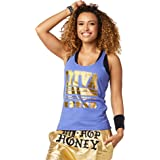 Zumba Graphic Print Dance Fitness Loose Tank Activewear Workout Tops for Women