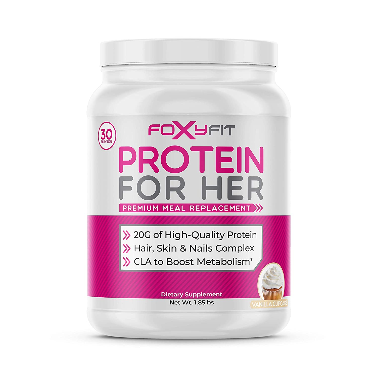 FoxyFit Protein for Her, Vanilla Cupcake Whey Protein Powder with CLA for Fat Loss and Biotin for Healthy Glow 1.85 lbs.