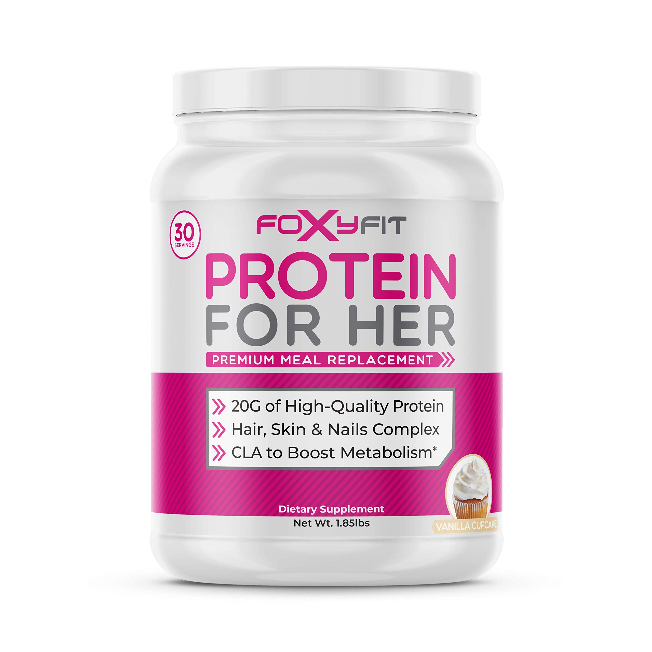 FoxyFit Protein for Her, Vanilla Cupcake Whey Protein Powder with CLA for Fat Loss and Biotin for Healthy Glow (1.85 lbs.) by FoxyFit