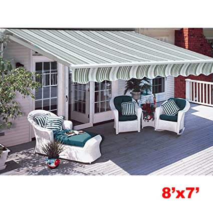 Awesome CO Z Manual Patio Shade Retractable Deck Awning Sun Shade Shelter Canopy (8u0027