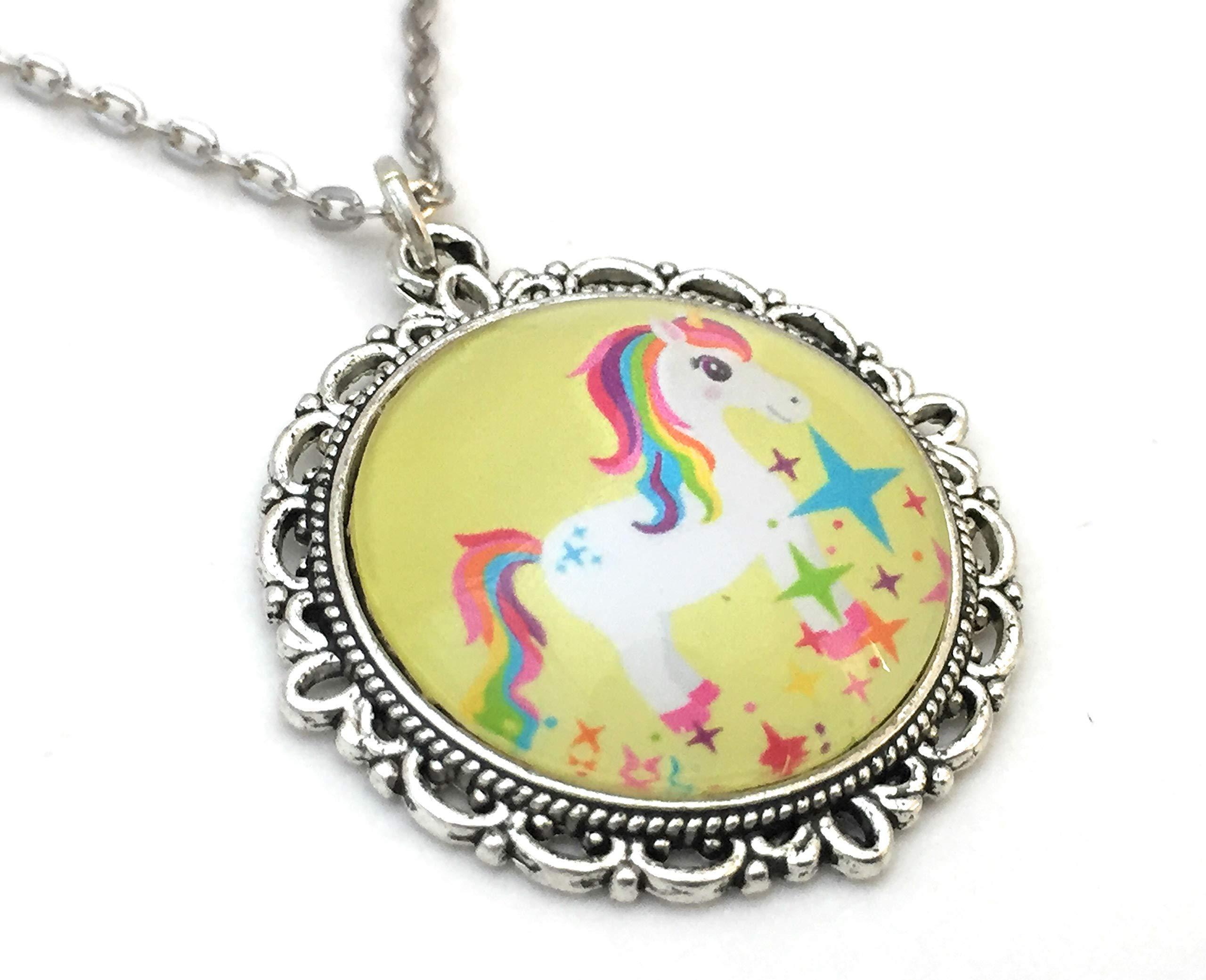 Unicorn Necklace - Rainbow Colors - Handmade 4