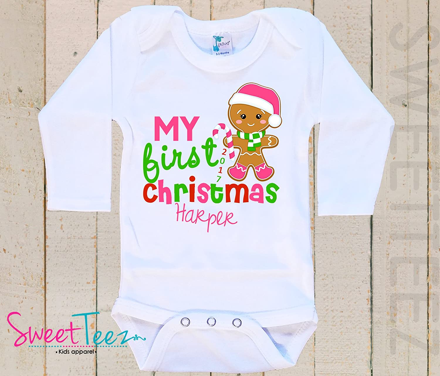 My first Christmas Baby Bodysuit Baby Girl Boy Personalized with Name and Year Gingerbread