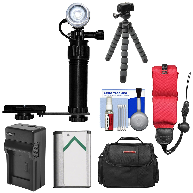 Intova水中LEDアクションビデオライト&カメラブラケット+ NP - bx1バッテリー/充電器+ケース+三脚キットfor Sonyアクションカムas200 V、as300、as50、x3000   B00TE412V4