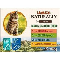 IAMS Naturally Colección Tierra y Mar para gatos adultos 12x85g