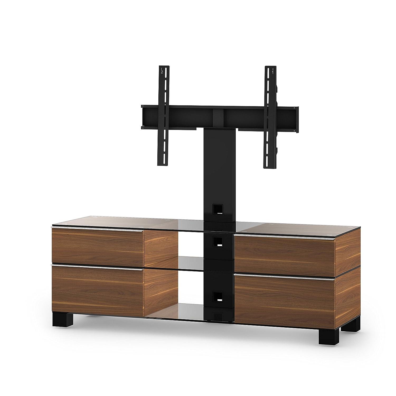 Sonorous MD 8240-C-HBLK-WNT Fernseher-Möbel mit Klarglas (Aluminium Hochglanz, Korpus Holzdekor) walnuß/schwarz