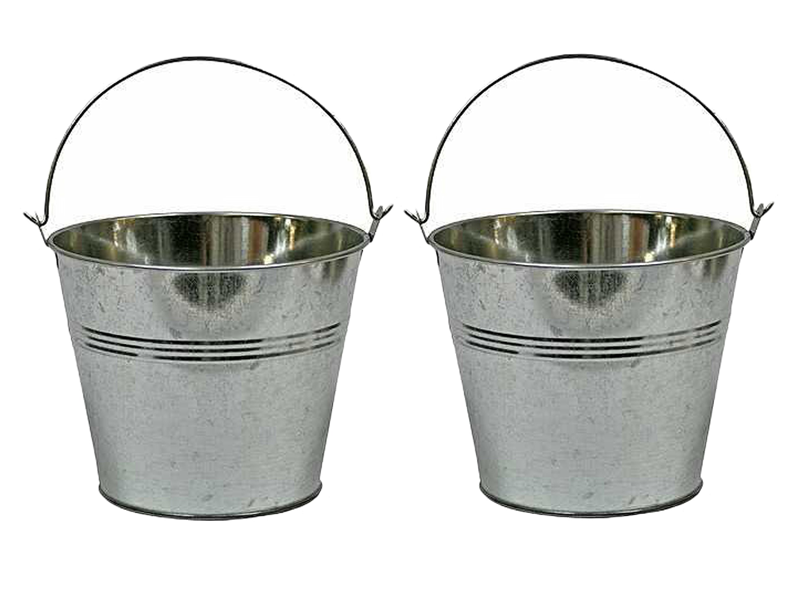 2 Set of 2 Galvanized Metal Pail Buckets bundled by Maven Gifts