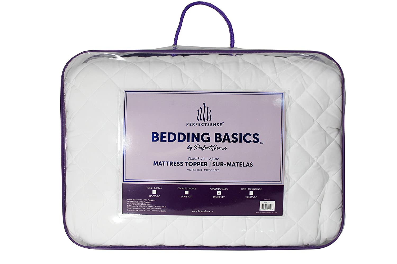 "Mattress Pad 1 Piece PerfectSense Basics Luxury Soft Breathable Hypoallergenic Quilted Mattress Pad Double Fill Down Alternative Mattress Cover 18"" Deep Pocket Fitted Style Secure Fit All Season Wrinkle Free & Machine Washable Bed Mattress Pad - by Per"