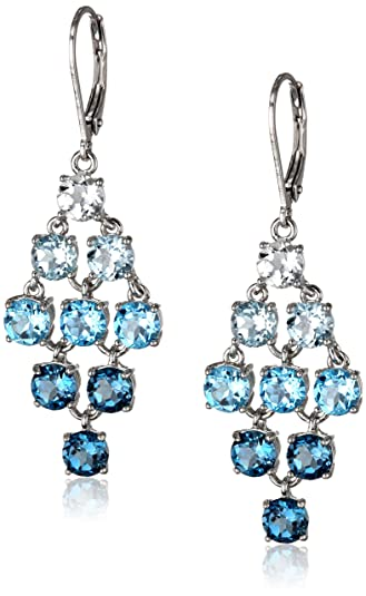 Amazon sterling silver genuine blue and white topaz chandelier sterling silver genuine blue and white topaz chandelier earrings aloadofball Image collections