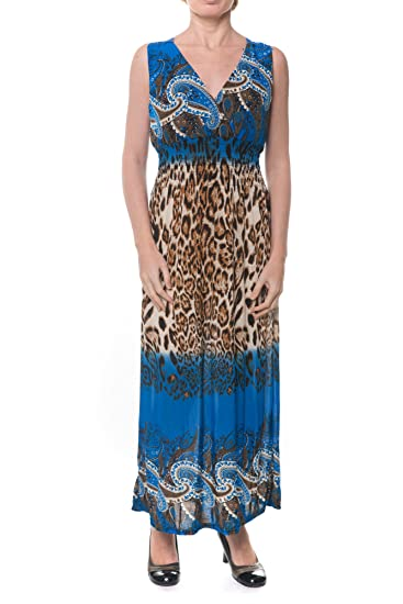 17abd63b33e Paris Pink Women s Sleeveless Maxi Dress Cool Summer Casual Leopard Print  at Amazon Women s Clothing store