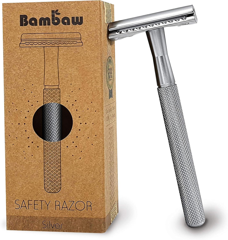 Maquinilla de Afeitar Clásica de doble filo   Maquinilla de Afeitar para Mujeres y Hombres   Para Afeitado Hombre y Mujer   Compatible con Todas las Hojas de Afeitar   Productos Ecológicos   Bambaw