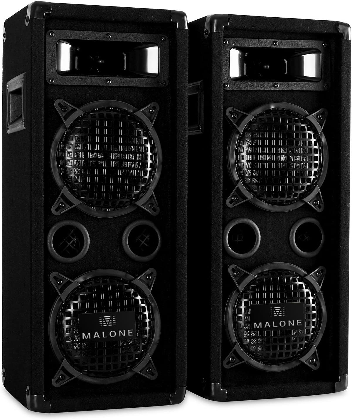 Malone PW-65X22 - Par de altavoces PA , Altavoces de 3 vías , máx 2x 600 W , 2x Subwoofer 16 cm , Twitter , Corneta de medios , 50 Hz-20kHz , Terminales estéreo , Rejilla , Caja de bajo , Asa , Negro