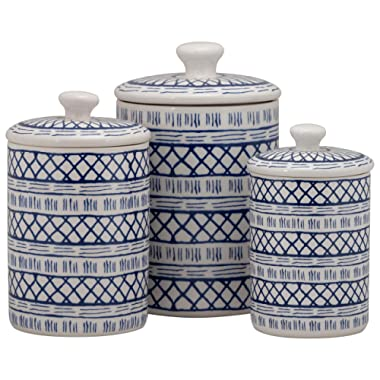 10 Strawberry Street CAN Marina Kitchen Canister Set, Set of 3, Blue/White