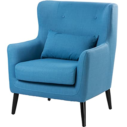 Astounding Merax Wingback Modern Accent Chair Fabric Club Chair Lounge Chair With Arms Blue Short Links Chair Design For Home Short Linksinfo