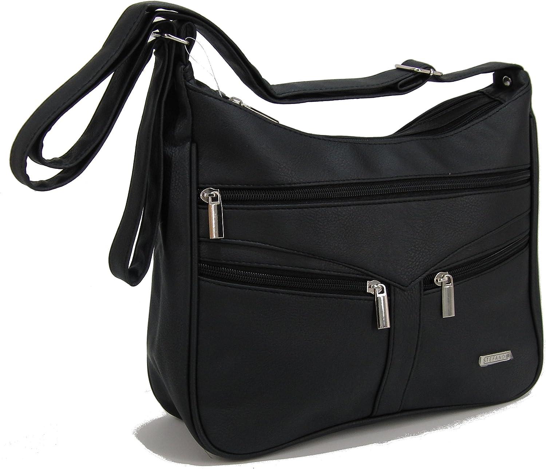 STEFANO Damen Umh/ängetasche Schultertasche Frauen Handtasche soft PU verschiedene Modelle