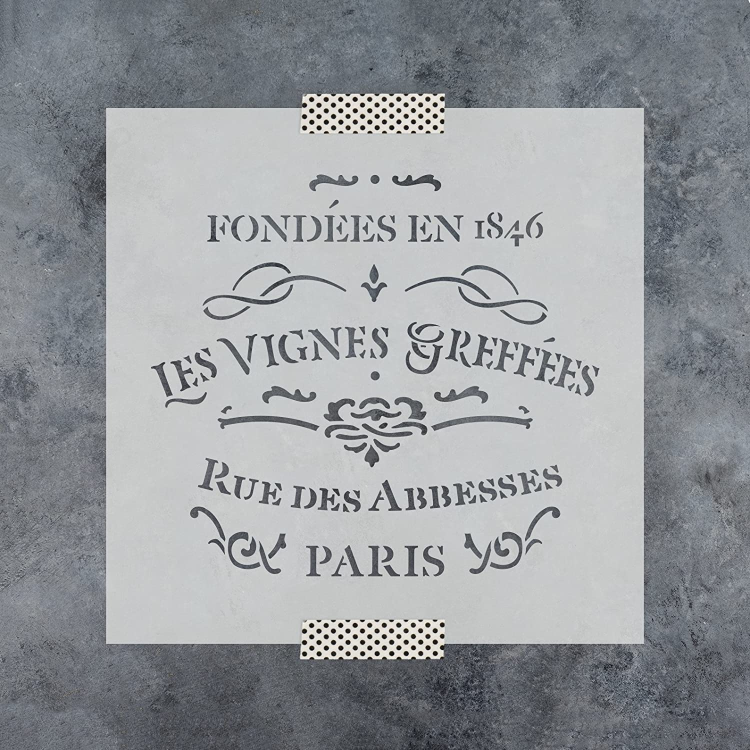 French Label Les Vignes Greffes Stencil Template for Walls and Crafts Reusable Stencils for Painting in Small /& Large Sizes