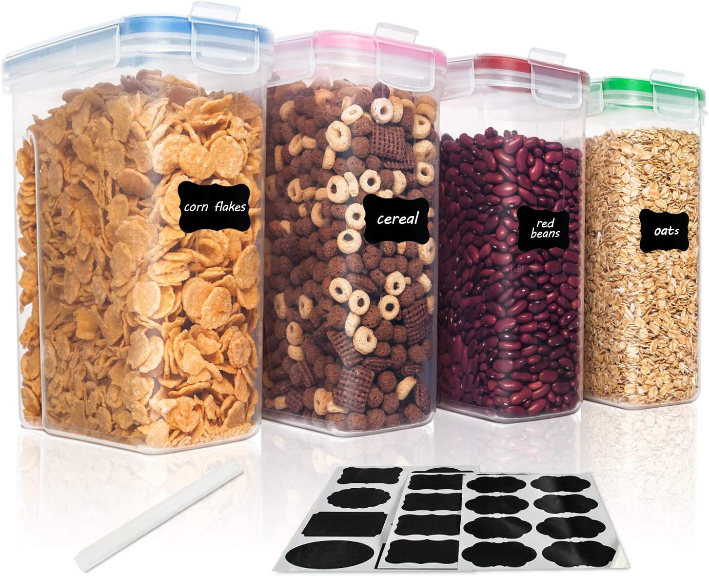 Vtopmart Cereal Storage Container Set, Small BPA Free Plastic Airtight Food Storage Containers 84.5 fl oz for Cereal, Snacks and Sugar, 4 Piece Set Cereal Dispensers with 24 Chalkboard Labels