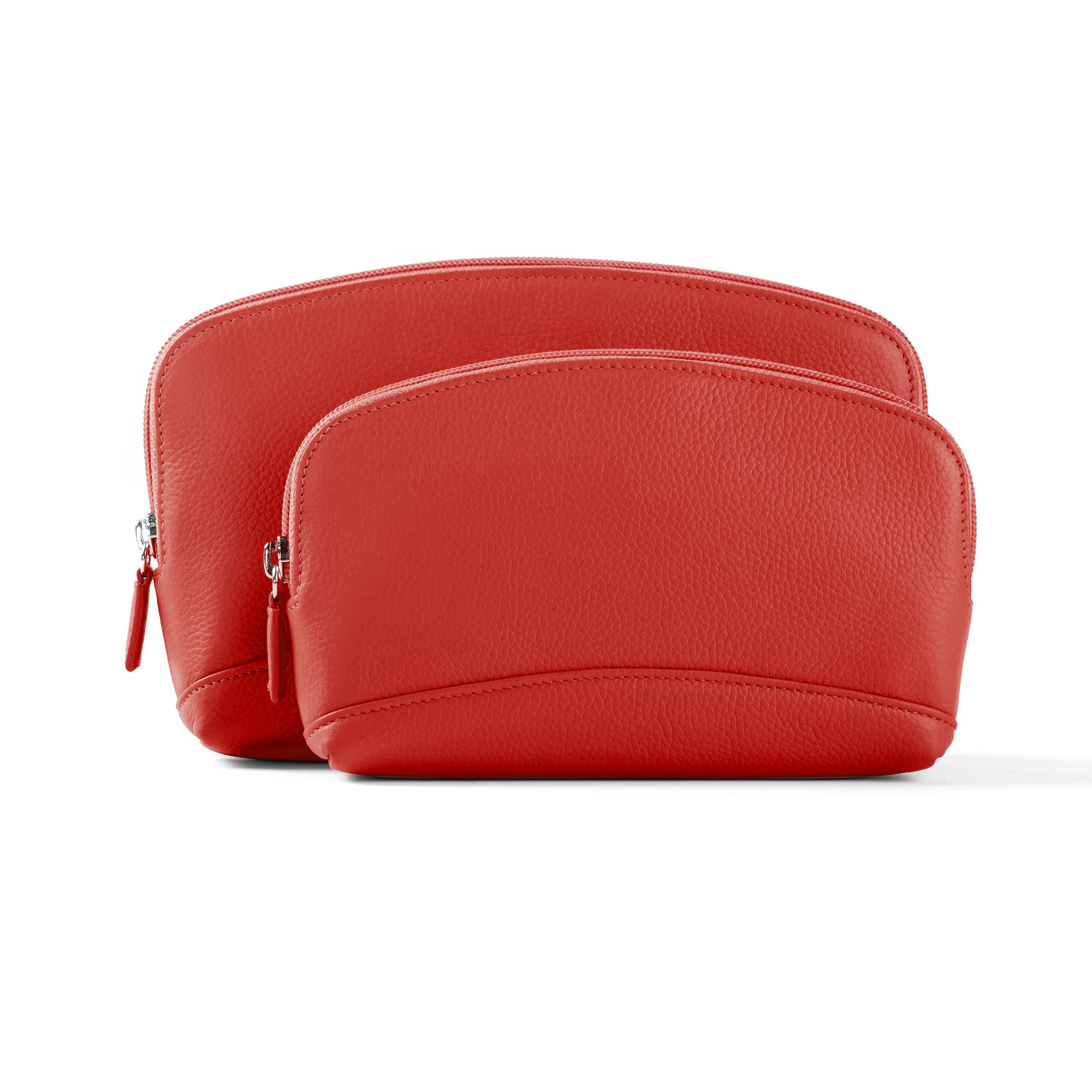 Cosmetic Bag Set - Full Grain Leather Leather - Scarlet (red)