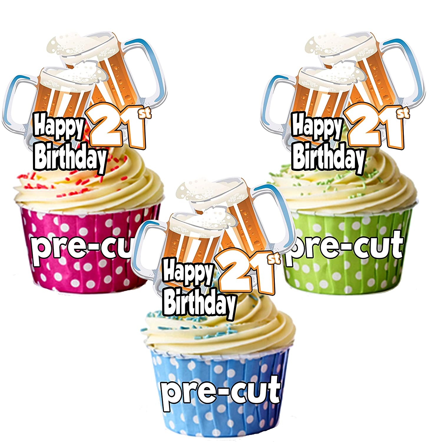 Edible 21 Stand Up Beer Glass Cupcake Toppers