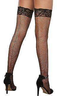 dreamgirl Women/'s Metallic Fishnet Thigh High Stockings