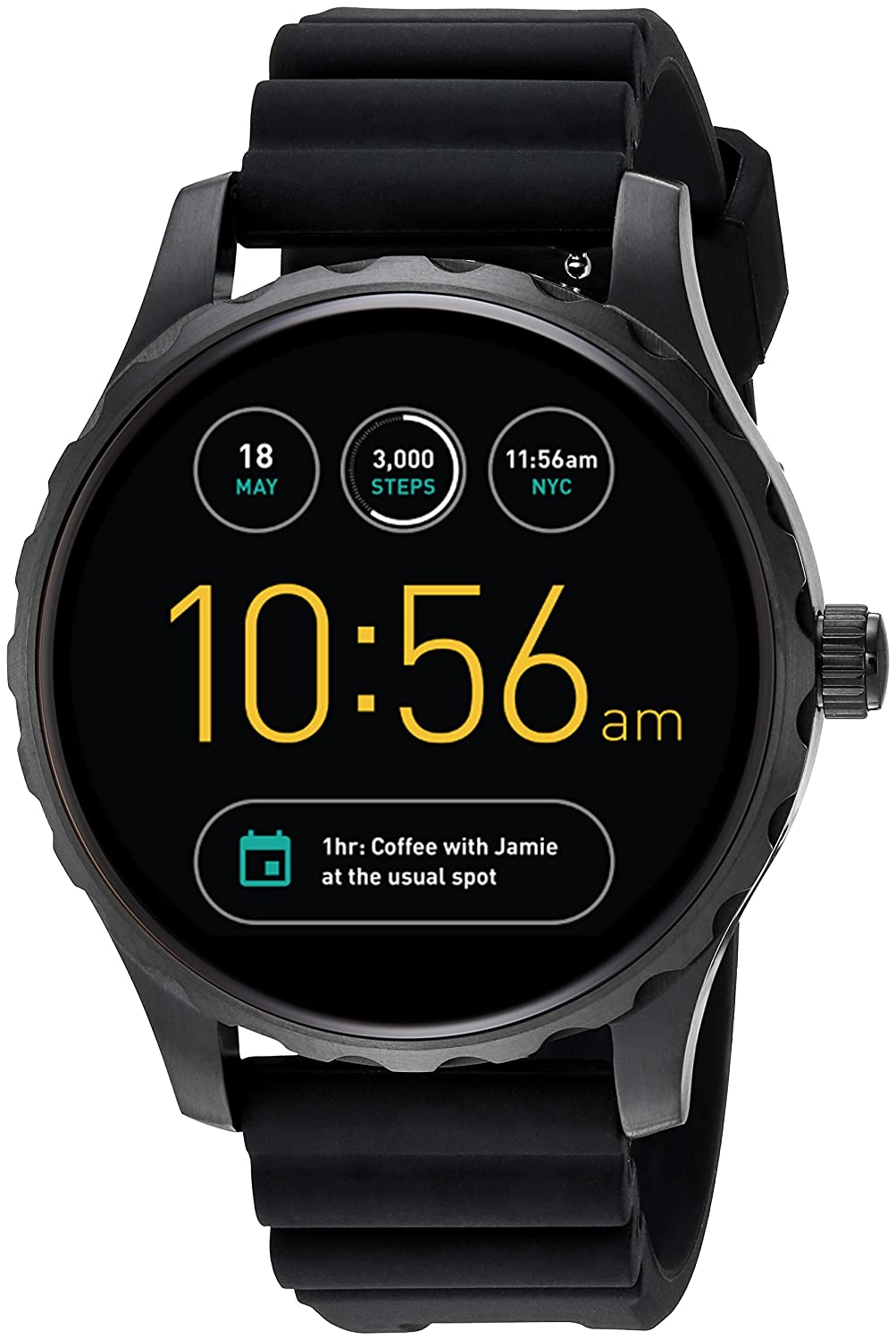 0365c4a49ef Amazon.com  Fossil Q Marshal Gen 2 Black Silicone Touchscreen Smartwatch  FTW2107  Watches