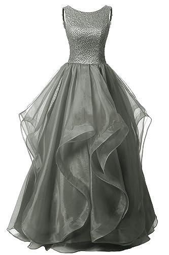 Dresstells Long Prom Dress Asymmetric Ball Gown Evening Gown Beads Organza Gown