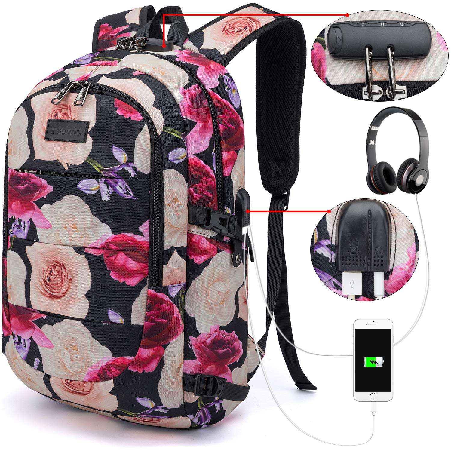 Tzowla Business Laptop Backpack Water Resistant Anti-Theft College Backpack with USB Charging Port and Lock 15.6 Inch Computer Backpacks for Women Girls, Casual Hiking Travel Daypack (Flower) by Tzowla