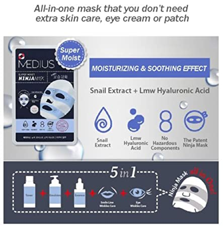 Amazon.com: Medius Aqua Azul Super húmeda Ninja Máscara ...
