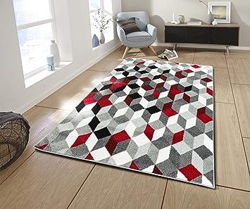 Koton Cara Tapis de Salon Multicolore (Noir, Gris, Blanc, Rouge, 160 x 230  cm)
